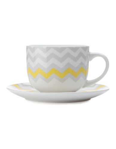 Maxwell & Williams Bold Zig Zag Mug and Saucer Set-GREY-One Size 88082772_GREY_One Size