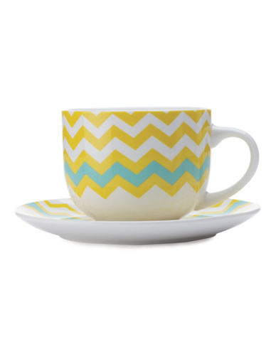 Maxwell & Williams Bold Zig Zag Mug and Saucer Set-YELLOW-One Size 88082873_YELLOW_One Size