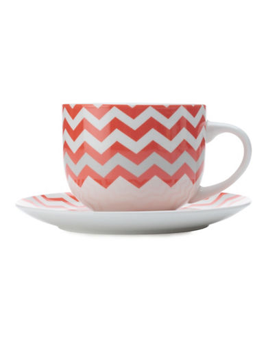 Maxwell & Williams Bold Zig Zag Mug and Saucer Set-RED-One Size 88082897_RED_One Size