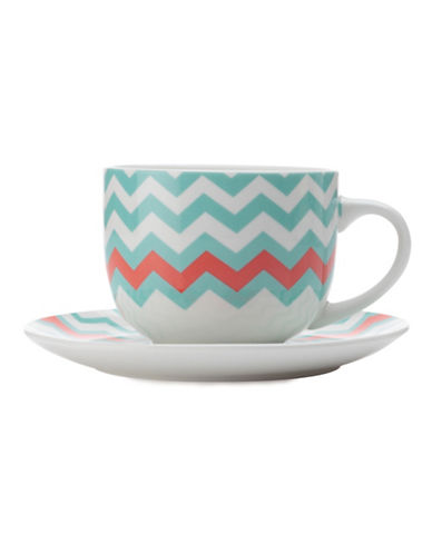 Maxwell & Williams Bold Zig Zag Mug and Saucer Set-BLUE-One Size 88082917_BLUE_One Size