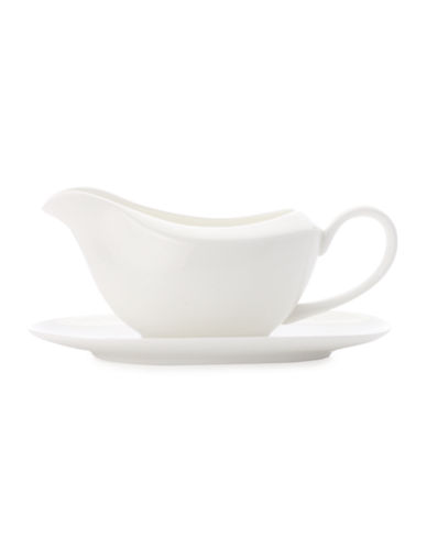 Maxwell & Williams Mansion Gravy Boat and Stand-WHITE-One Size