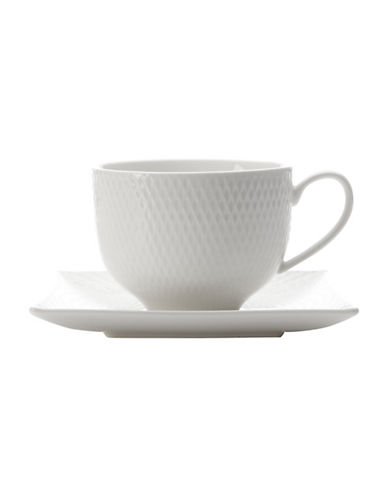 Maxwell & Williams Diamond Porcelain Teacup and Saucer-WHITE-One Size