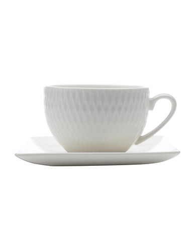 Maxwell & Williams Diamond Porcelain Demi-Teacup and Saucer-WHITE-90 ml