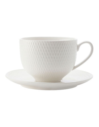 Maxwell & Williams Diamond Two-Piece Porcelain Cup and Saucer Set-WHITE-One Size 90092997_WHITE_One Size