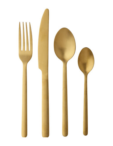 Maxwell & Williams Elemental 16-Piece Stainless Steel Cutlery Set-GOLD-One Size