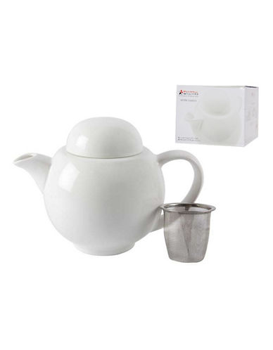 Maxwell & Williams Basics Teapot with Strainer-WHITE-One Size