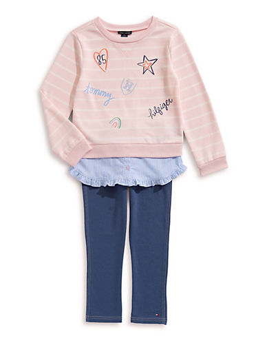 Tommy Hilfiger Little Girl's Two-Piece Striped Cotton Top & Leggings Set 90140013
