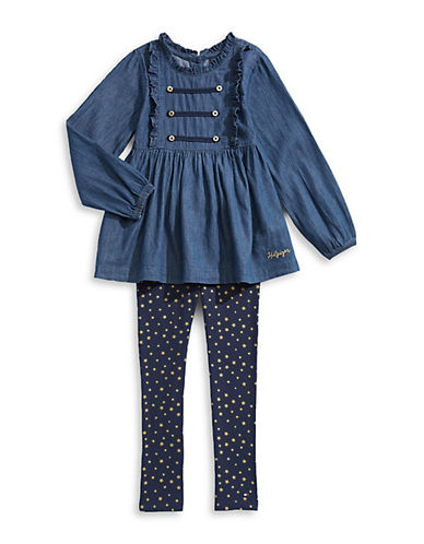 Tommy Hilfiger Little Girl's Two-Piece Cotton Dress & Leggings Set 90139994