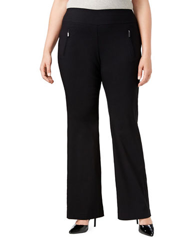 I.N.C International Concepts Plus High-Waist Wide-Leg Pants-BLACK-14W