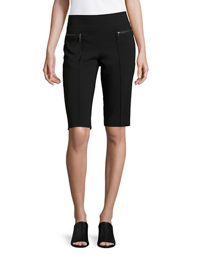 Style And Co. Petite Pull-On Zip Pocket Capris-BLACK-Petite Large 88987265_BLACK_Petite Large