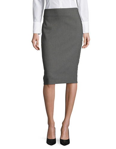 Lord & Taylor Petite Mod Dot Pencil Skirt-BLACK-Petite 8