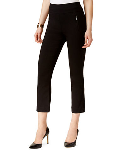 I.N.C International Concepts Petite Petite Pull-On Cropped Pants-BLACK-Petite 8