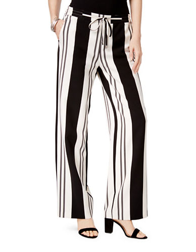 I.N.C International Concepts Petite Striped Boot-Cut Trousers-BLACK-Petite 12