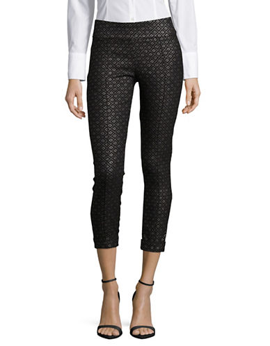 Lord & Taylor Petite Foiled Diamond Cropped Leggings-BLACK-Petite 2