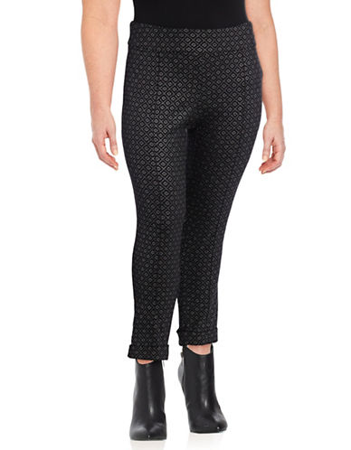 Lord & Taylor Plus Foiled Diamond Kelly Pull-On Pants-BLACK-14W