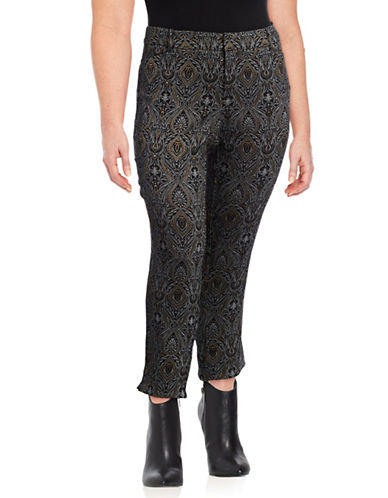 Lord & Taylor Plus Jacquard Kelly Ankle Pants-BLACK-22W