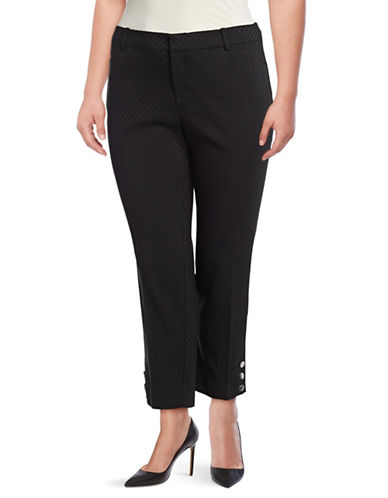 Lord & Taylor Slim Snap-Button Hem Pants-BLACK-10