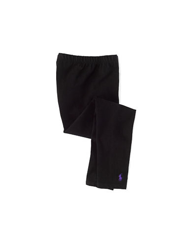 Ralph Lauren Childrenswear Black Stretch Cotton Legging with Pony Player-BLACK-Large