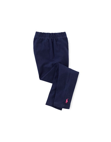Ralph Lauren Childrenswear Black Stretch Cotton Legging with Pony Player-NEWPORT NAVY-Small