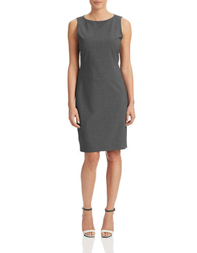 Theory Betty Stretch Wool Shift Dress-CHARCOAL-2