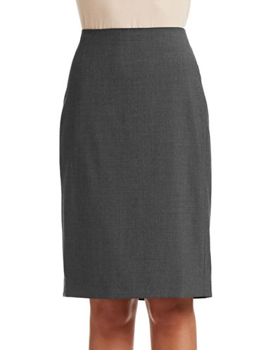 Theory Pencil Virgin Wool Skirt-CHARCOAL-4