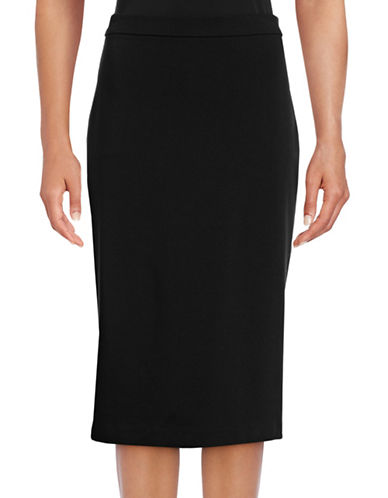 Theory Lijnek Ponte Pencil Skirt-BLACK-Large