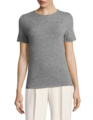Theory Cashmere Short Sleeve Sweater-GREY-Large