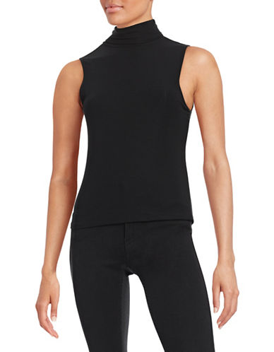 Theory Wendel Ribbed Jersey Turtleneck Top-BLACK-Small