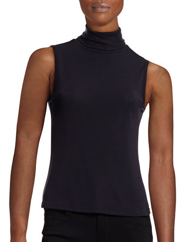 Theory Wendel Ribbed Jersey Turtleneck Top-BLUE-Small