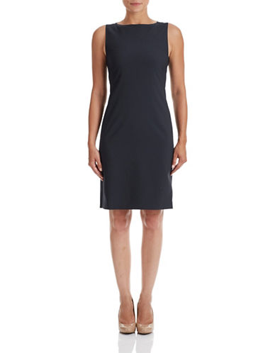 Theory Betty Stretch Wool Shift Dress-DEEP NAVY-4