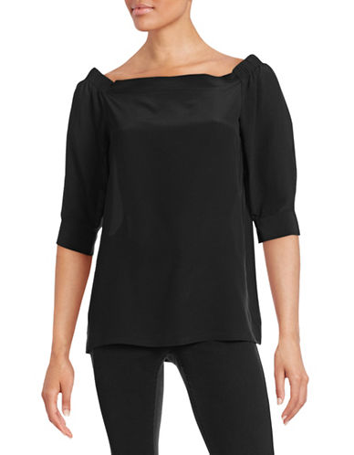 Theory Off-Shoulder Woven Silk Top-BLACK-Medium