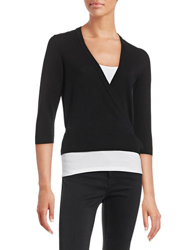 Theory Mellia Merino Wool Wrap Top-BLACK-X-Small 88492092_BLACK_X-Small
