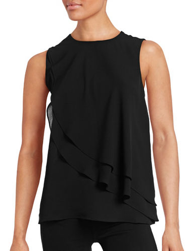 Theory Elmali Sleeveless Silk Blouse-BLACK-Large plus size,  plus size fashion plus size appare