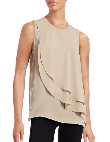 Theory Elmali Sleeveless Silk Blouse-TAUPE-Large plus size,  plus size fashion plus size appare