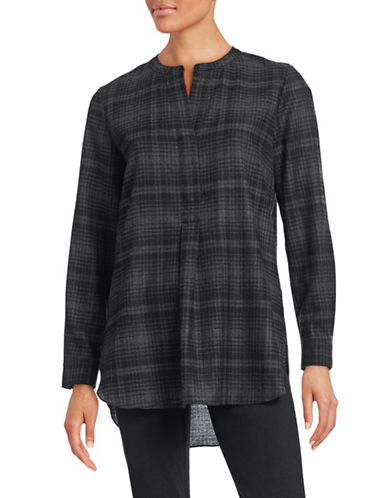 Theory Orvinio Plaid Wool Tunic-GREY-Small