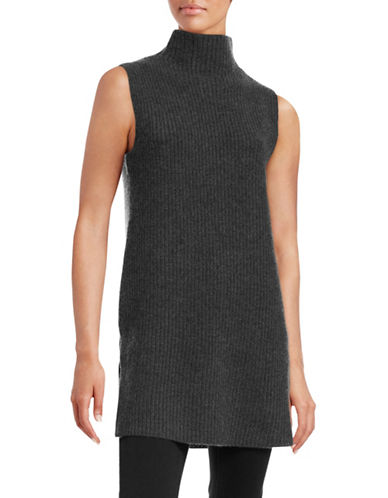 Theory Wool-Cashmere Tunic Sweater-GREY-Large 88696249_GREY_Large