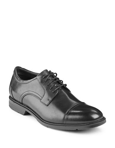 Rockport City Smart Leather Derby Cap Toe Shoes-BLACK-8W