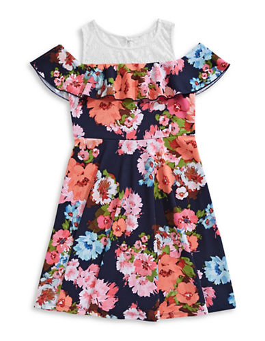 Emerald Sundae Ruffled Floral Skater Dress-BLUE-16