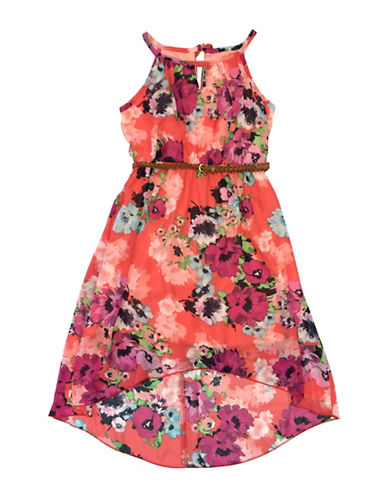 Emerald Sundae Floral Print Hi-Lo Dress-CORAL-14