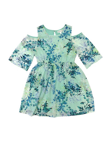 Emerald Sundae Floral Cold-Shoulder Dress-BLUE-14