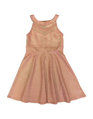 Emerald Sundae Illusion Halter Skater Dress-BLUSH/GOLD-8