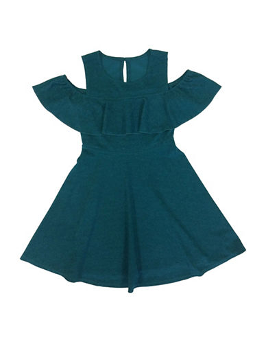Emerald Sundae Off-Shoulder Ruffle Dress-EMERALD-8