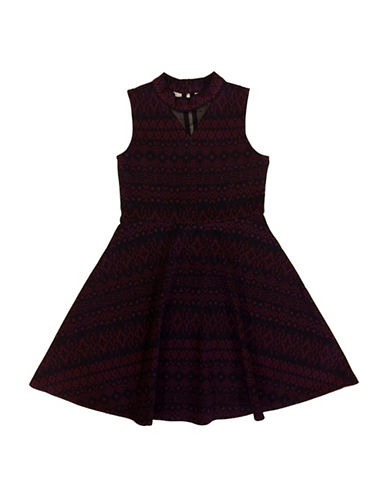Emerald Sundae Illusion Mock Neck Skater Dress-WINE/BLACK-10