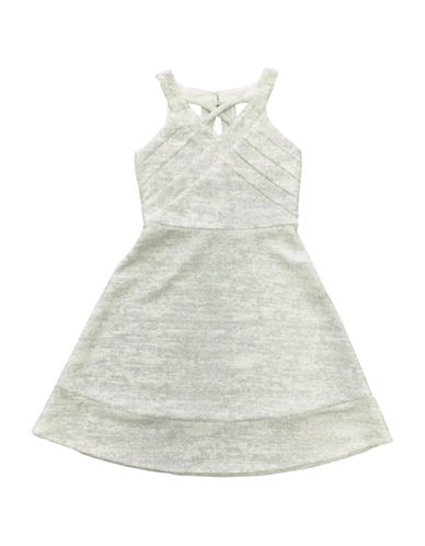 Emerald Sundae Criss Cross Sleeveless Skater Dress-IVORY/SILVER-7