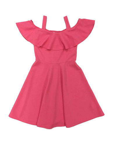 Emerald Sundae Off-the-Shoulder Ruffle Skater Dress-CORAL-10