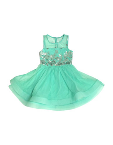 Emerald Sundae Sequined Fit-and-Flare Dress-GREEN-7