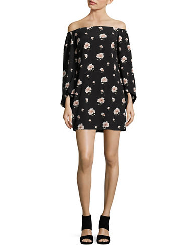 Design Lab Lord & Taylor Floral Off-The-Shoulder Dress-BLACK MULTI-Medium