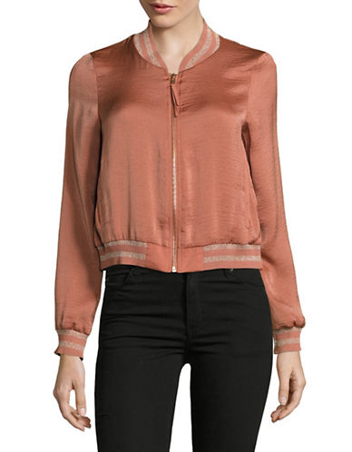 Design Lab Lord & Taylor Clara Silky Bomber Jacket-ORANGE-Small