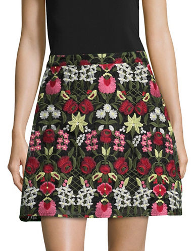 Design Lab Lord & Taylor Embroidered Skirt-BLACK MULTI-Small