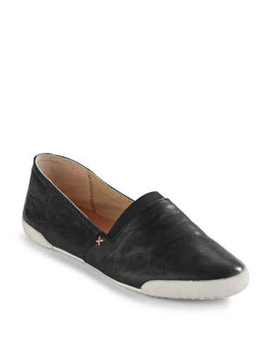 Frye Melanie Slip-On Leather Sneakers-BLACK-9.5